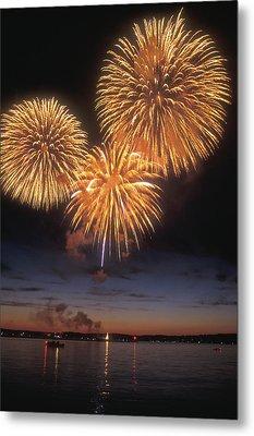 Lake Champlain Fireworks Metal Print by John Burk