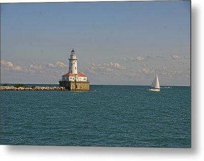 Lake Michigan Lighthouse Metal Print by Sheryl Thomas