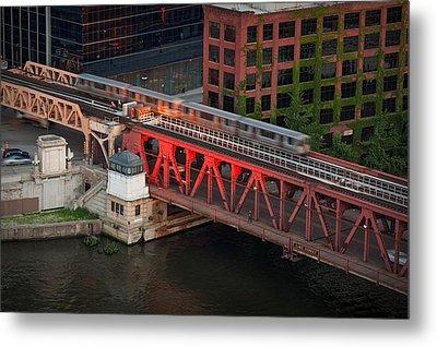 Lake Street Crossing Chicago River Metal Print by Steve Gadomski