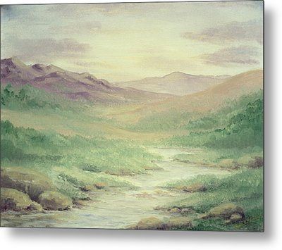 Metal Print featuring the painting Lazy Creek by Cathy Cleveland