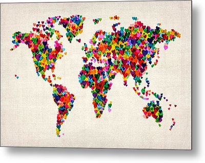 Love Hearts Map Of The World Map Metal Print by Michael Tompsett