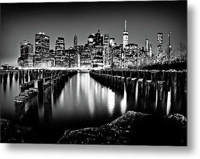 Manhattan Skyline At Night Metal Print by Az Jackson