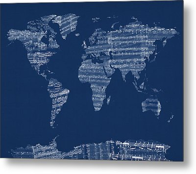 Map Of The World Map From Old Sheet Music Metal Print