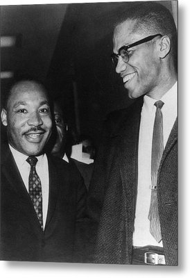 Martin Luther King Jr., And Malcolm X Metal Print