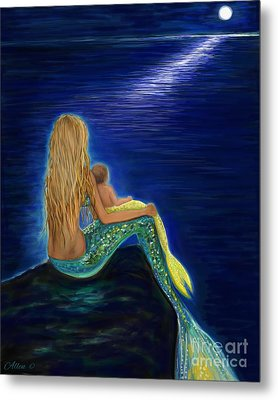 Metal Print featuring the painting Mermaids Sweet Babies Moon by Leslie Allen