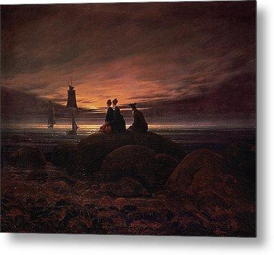 Moon Rising Over The Sea Metal Print by Caspar David Friedrich