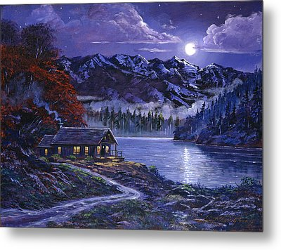 Moonlit Cabin Metal Print
