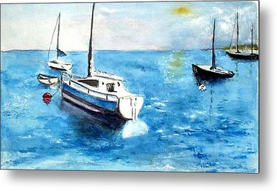 Metal Print featuring the painting Moored Boats by Sibby S