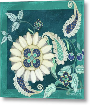 Moroccan Paisley Peacock Blue 1 Metal Print by Audrey Jeanne Roberts