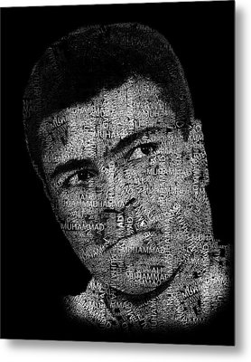 Muhammad Ali Or Cassius Clay Text Portrait - Typographic Face Poster Metal Print