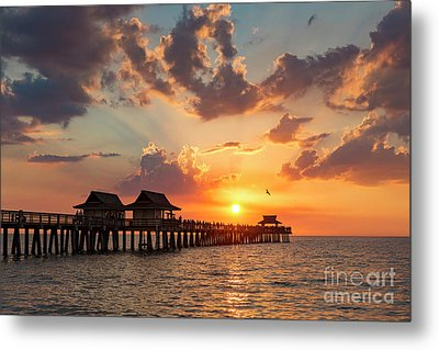 Metal Print featuring the photograph Naples Pier At Sunset by Brian Jannsen