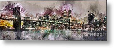 New York City Skyline Watercolor  Metal Print