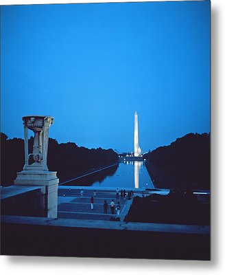 Night View Of The Washington Monument Across The National Mall Metal Print by American School