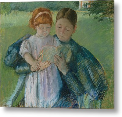 Nurse Reading To A Little Girl Metal Print by Mary Cassatt