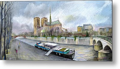 Paris Notre-dame De Paris Metal Print by Yuriy  Shevchuk