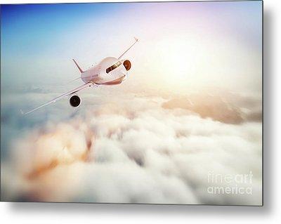 Passenger Airplane Flying At Sunset, Blue Sky. Metal Print by Michal Bednarek