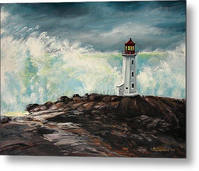 Peggy's Cove Lighthouse Hurricane Metal Print by Patricia L Davidson