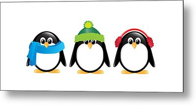Penguins Isolated Metal Print