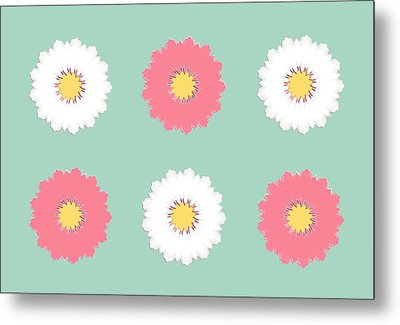 Metal Print featuring the digital art Pink And White by Elizabeth Lock
