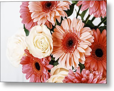 Pink Gerbera Daisy Flowers And White Roses Bouquet Metal Print by Radu Bercan