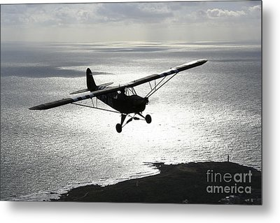 Piper L-4 Cub In Us Army D-day Colors Metal Print by Daniel Karlsson