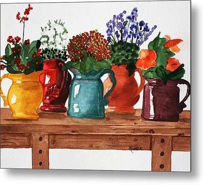 Pitchers In Bloom Metal Print