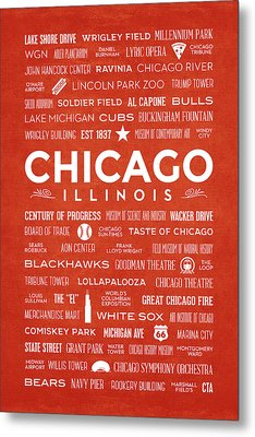 Metal Print featuring the digital art Places Of Chicago On Orange Chalkboard by Christopher Arndt