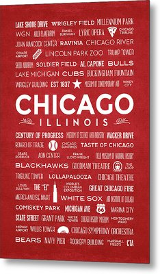 Metal Print featuring the digital art Places Of Chicago On Red Chalkboard by Christopher Arndt