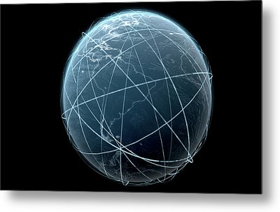 Planet With Illuminated Light Trails Metal Print by Allan Swart