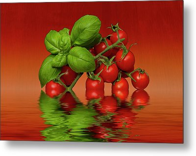 Metal Print featuring the photograph Plum Cherry Tomatoes Basil by David French