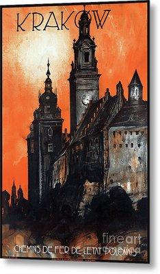 Poland Krakow Vintage Travel Poster Restored Metal Print by Carsten Reisinger