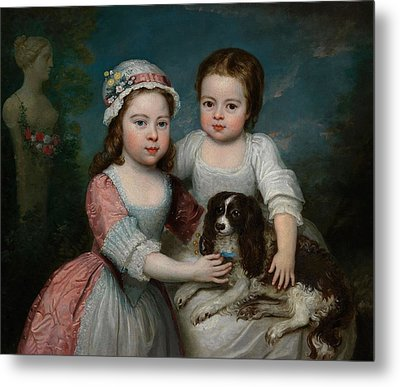 Portrait Of Two Girls And A Spaniel Metal Print by MotionAge Designs