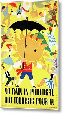 Portugal Vintage Travel Poster Restored Metal Print by Carsten Reisinger