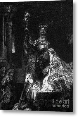 Presentation In The Temple Metal Print by Rembrandt