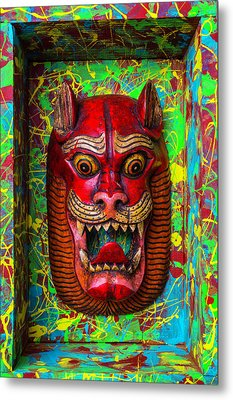 Red Cat Mask Metal Print by Garry Gay