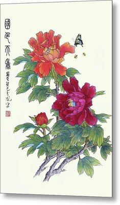 Red Peonies Metal Print by Yufeng Wang