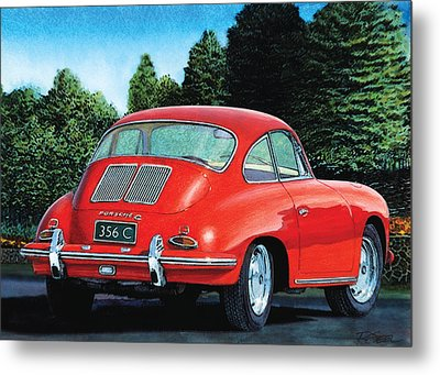 Red Porsche 356c Metal Print