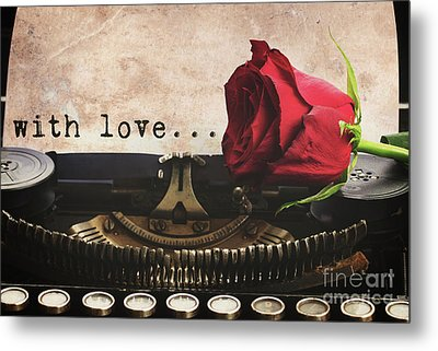Red Rose On Typewriter Metal Print by Anastasy Yarmolovich