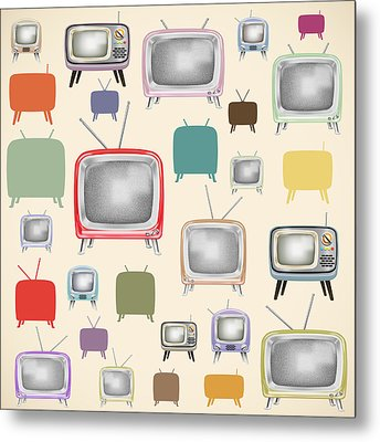 retro TV pattern  Metal Print