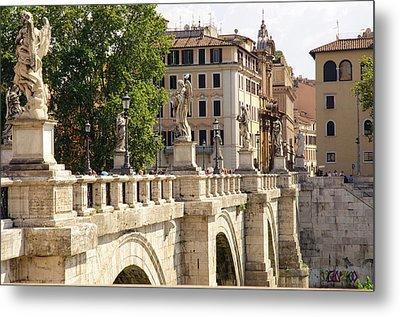 Rome - Ponte Sant Angelo Metal Print by Andrea Mazzocchetti