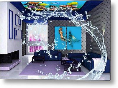 Rooftop Saltwater Fish Tank Art Metal Print