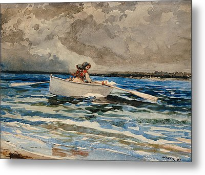 Rowing At Prouts Neck Metal Print by Winslow Homer