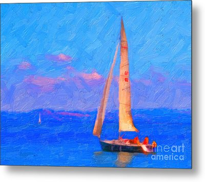 Sailing In The San Francisco Bay Metal Print by Wingsdomain Art and Photography