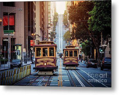 San Francisco Cable Cars Metal Print by JR Photography