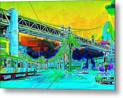 San Francisco Embarcadero And The Bay Bridge Metal Print by Wingsdomain Art and Photography