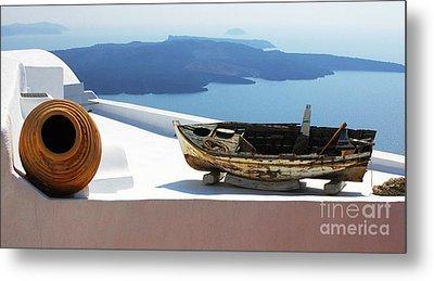 Santorini Greece Metal Print by Bob Christopher