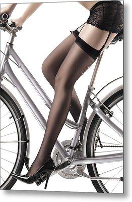 Sexy Woman Riding A Bike Metal Print