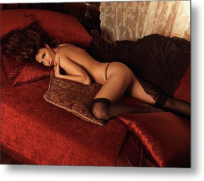 Sexy Young Woman Lying On A Bed Metal Print