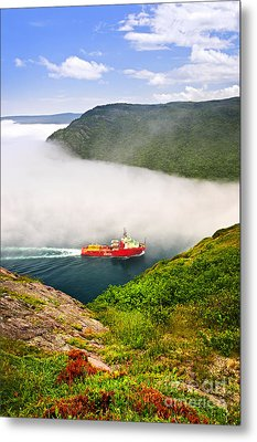 Ship Entering The Narrows Of St John's Metal Print by Elena Elisseeva