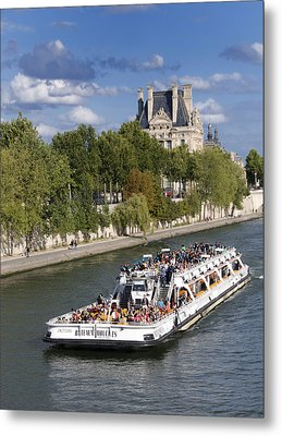 Sightseeing Boat On River Seine To Louvre Museum. Paris Metal Print by Bernard Jaubert